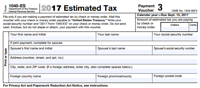 2017 estimated tax form 1040-es for Lyft and Uber taxes
