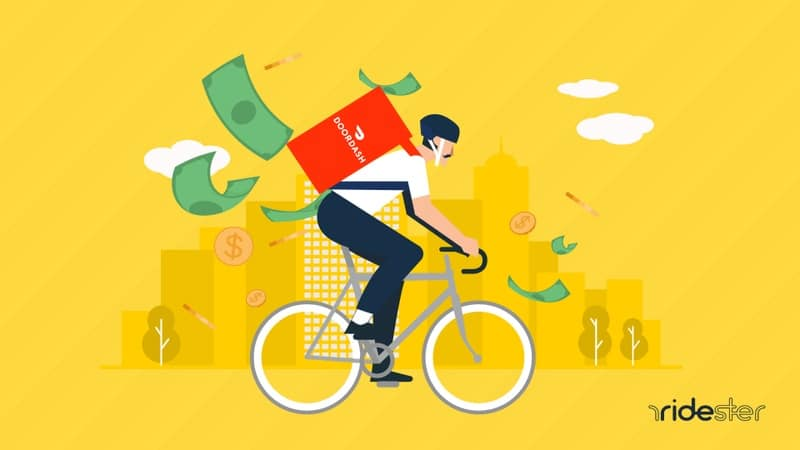 vector image of a doordash courier riding bike and money falling out of the back to indicate how much do doordash drivers make