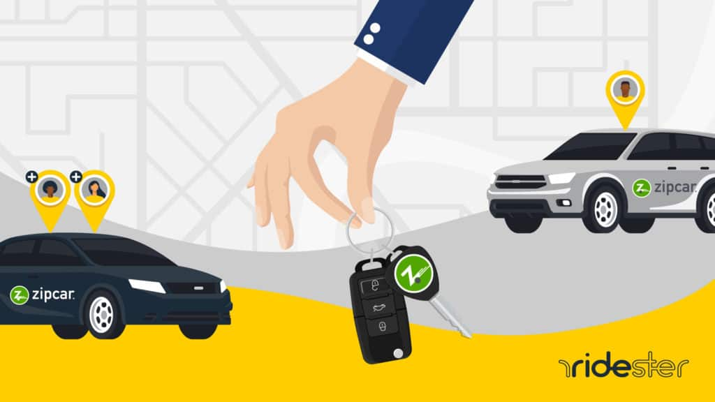 a vector graphic of a hand holding keys against a map in the background with two cars with Zipcar logos on them for Zipcar rental rates post