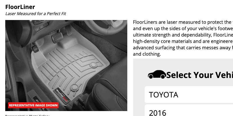 WeatherTech Floor Liner screenshot
