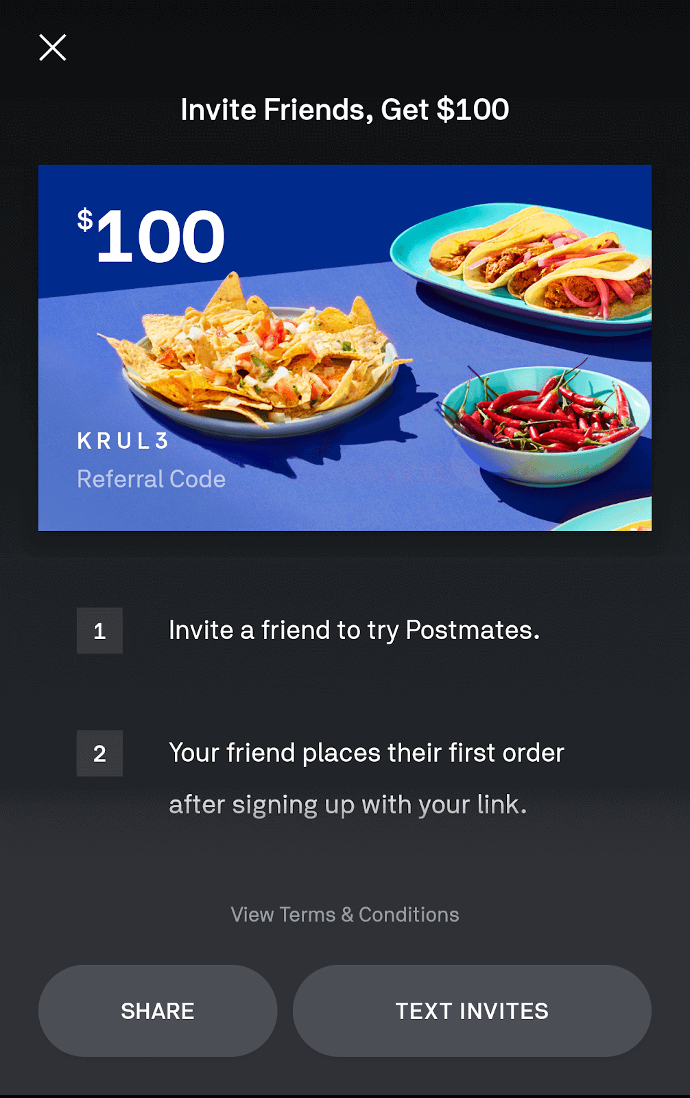 Invite friends to Postmates with your promo code