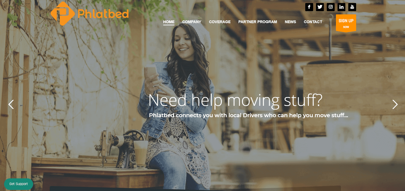 Uber for moving: Phlatbed homepage