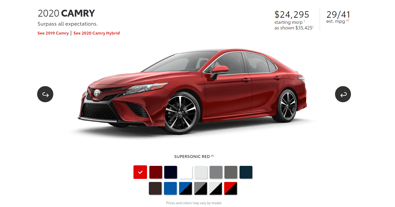 Best gas mileage cars: 2020 Camry