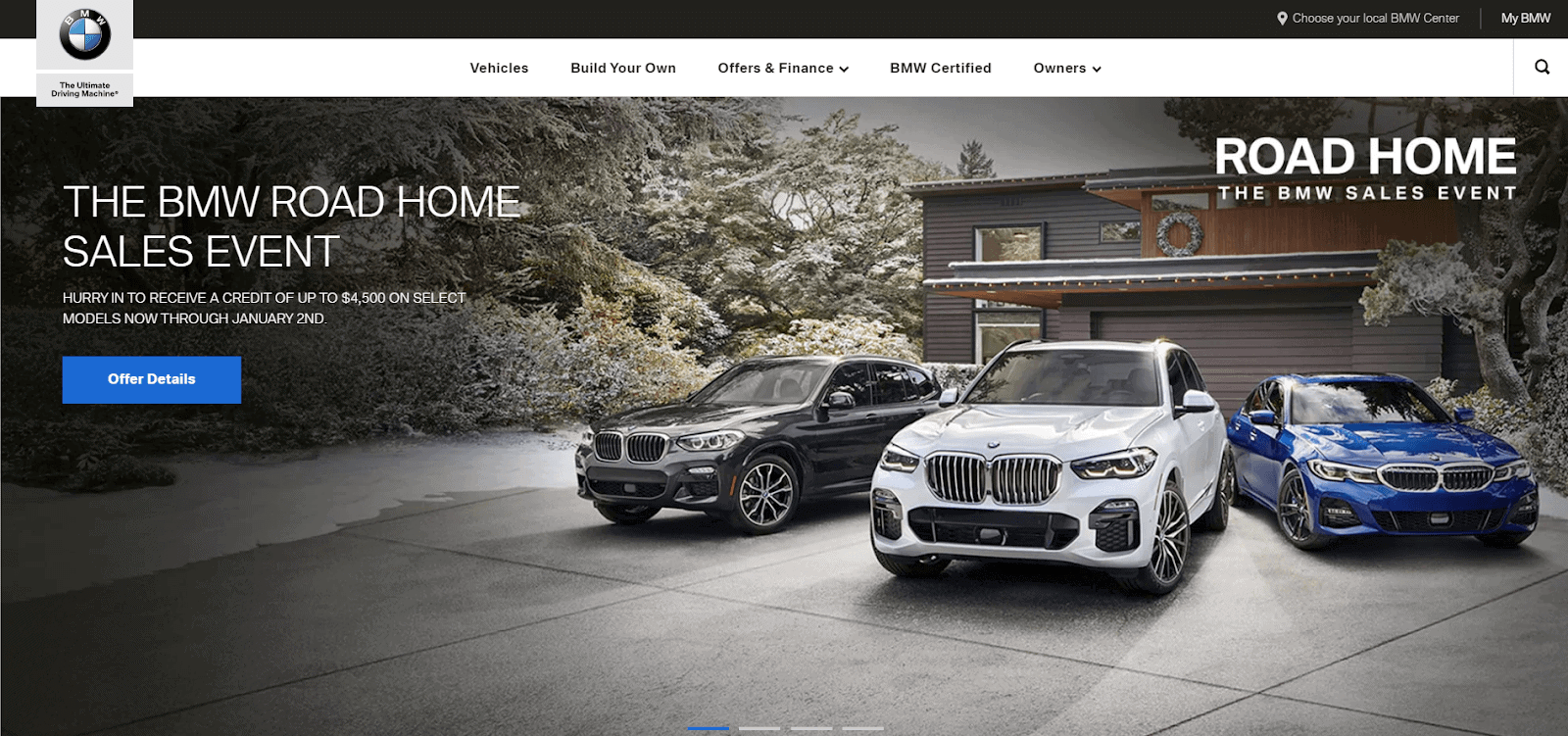 BMW homepage screenshot