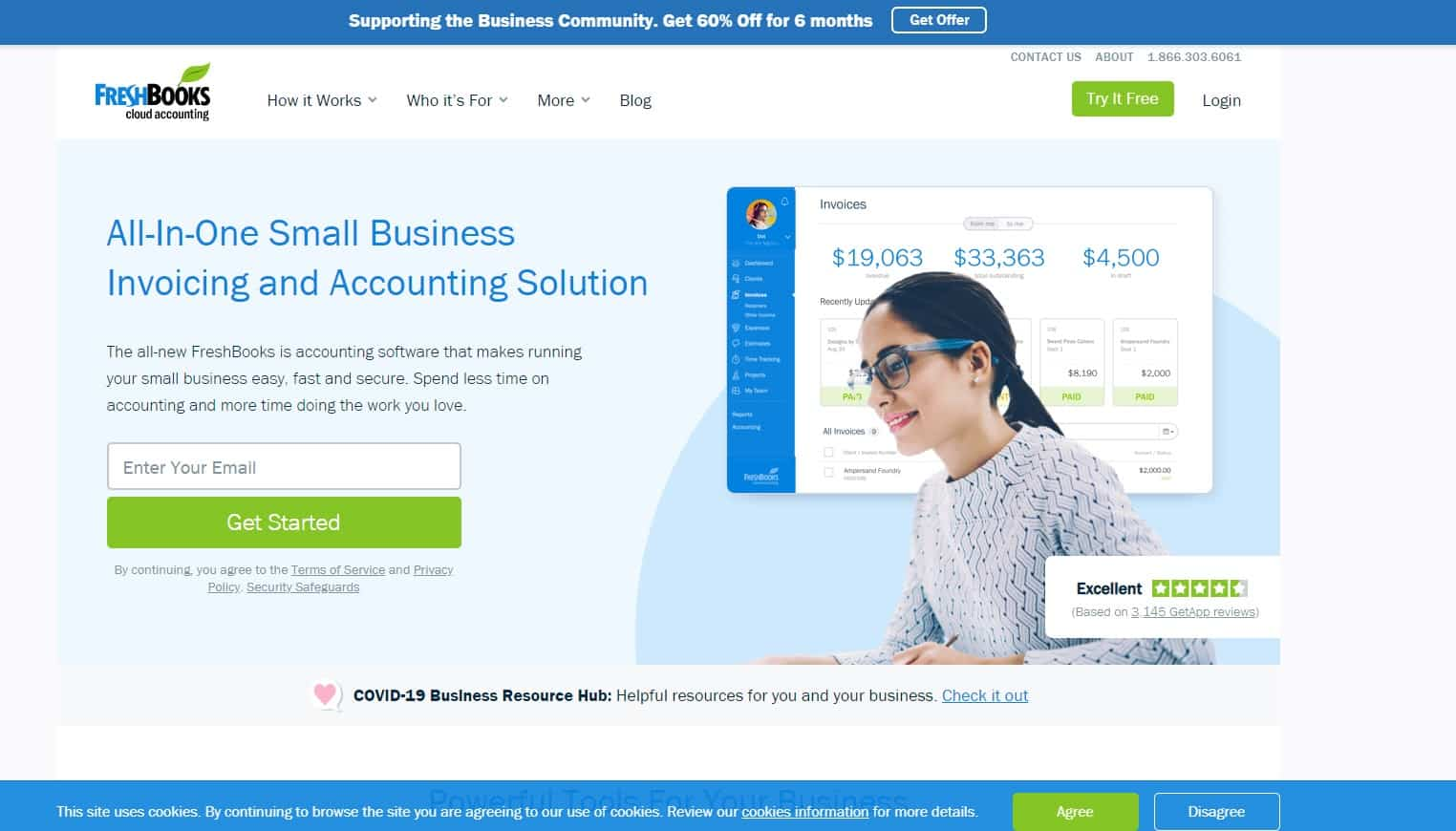 FreshBooks main site screenshot