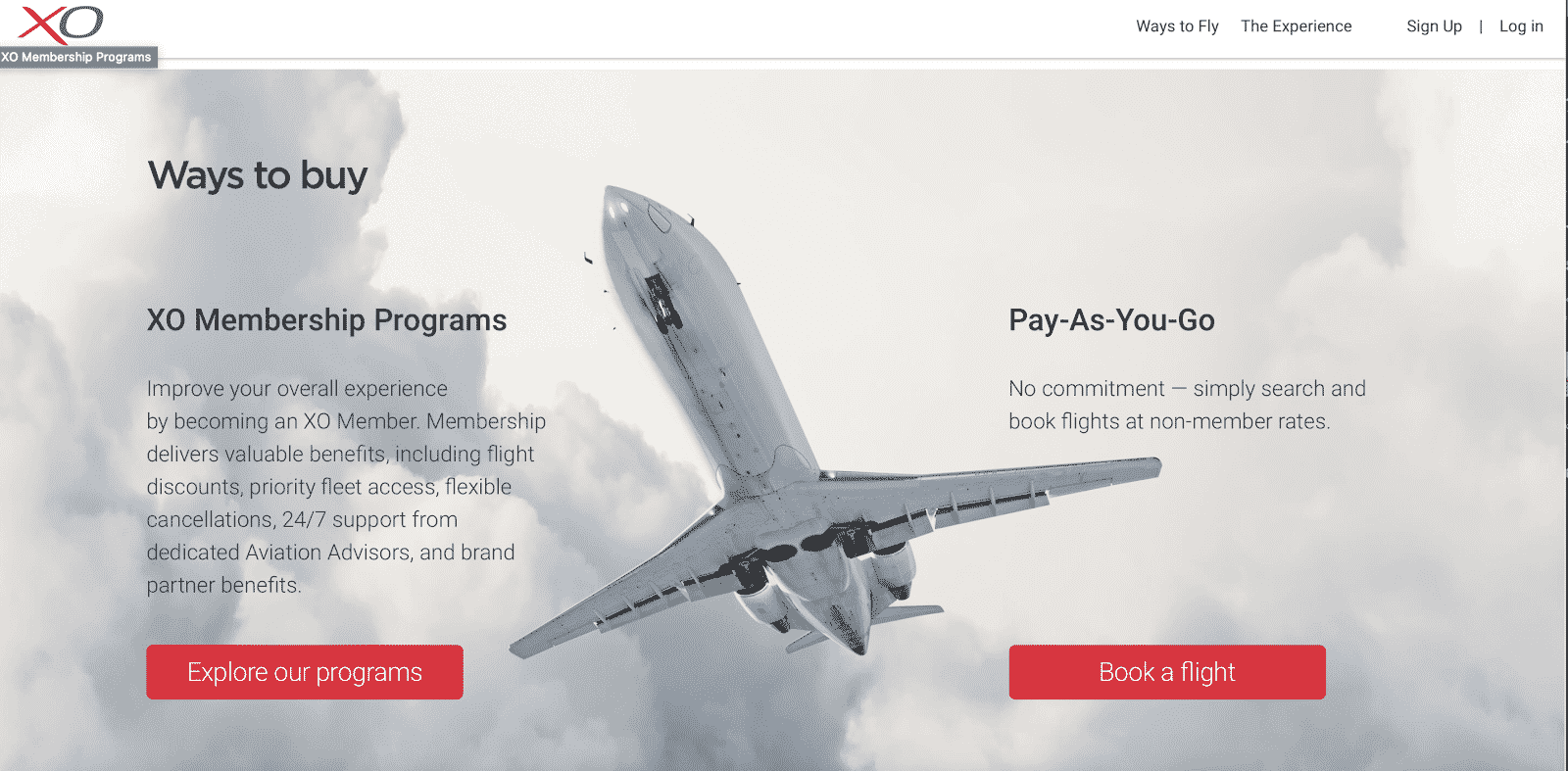 The XOJET Ways to Buy webpage