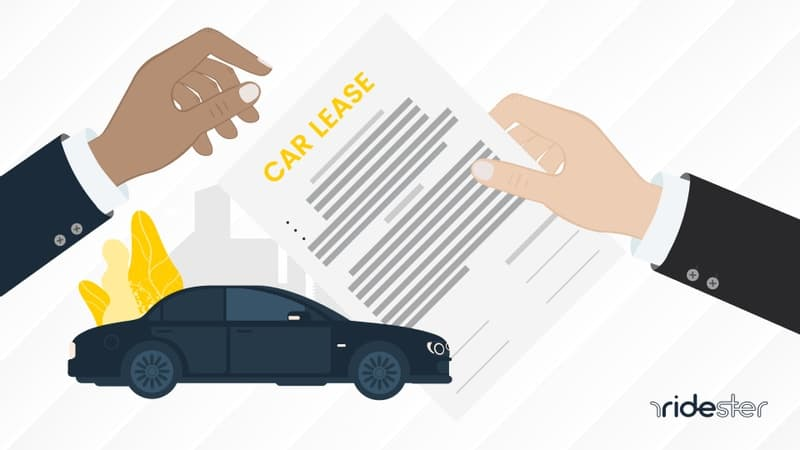 a vector image of a hand holding a car lease and another hand taking over a car lease with a road and car in the background