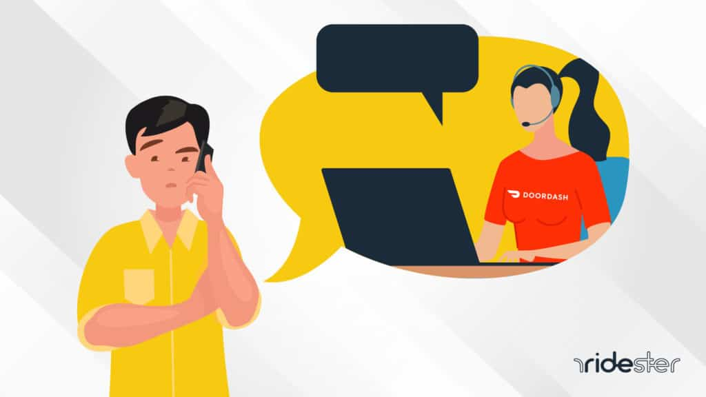 vector graphic of a man holding a cell phone talking to a DoorDash customer support rep after calling the DoorDash phone number