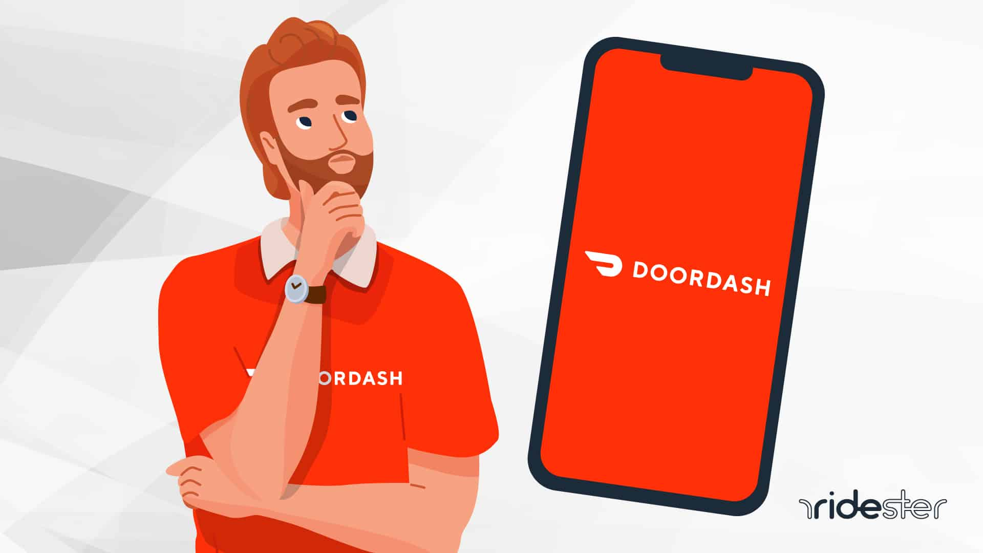 vector illustration of man holding his chin and wondering is doordash worth it for drivers