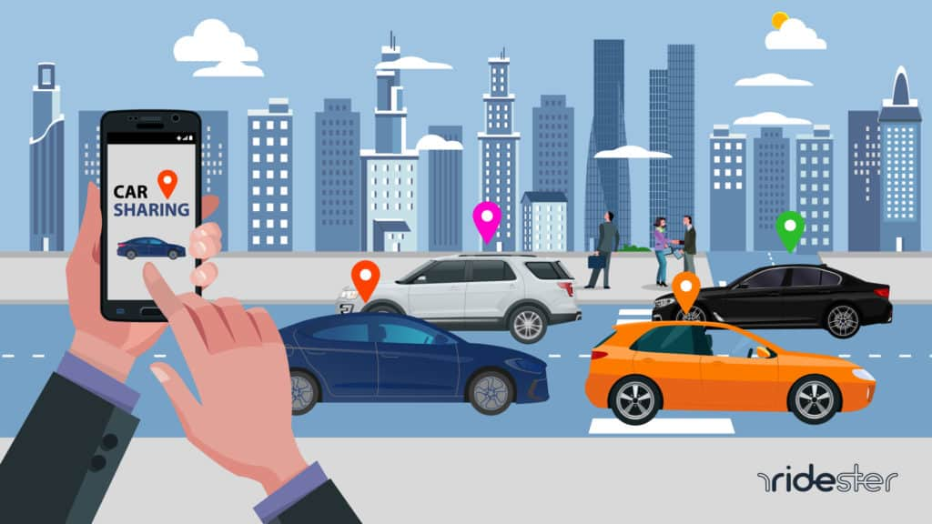 vector graphic showing a user holding a smartphone and summoning a variety of different ride services