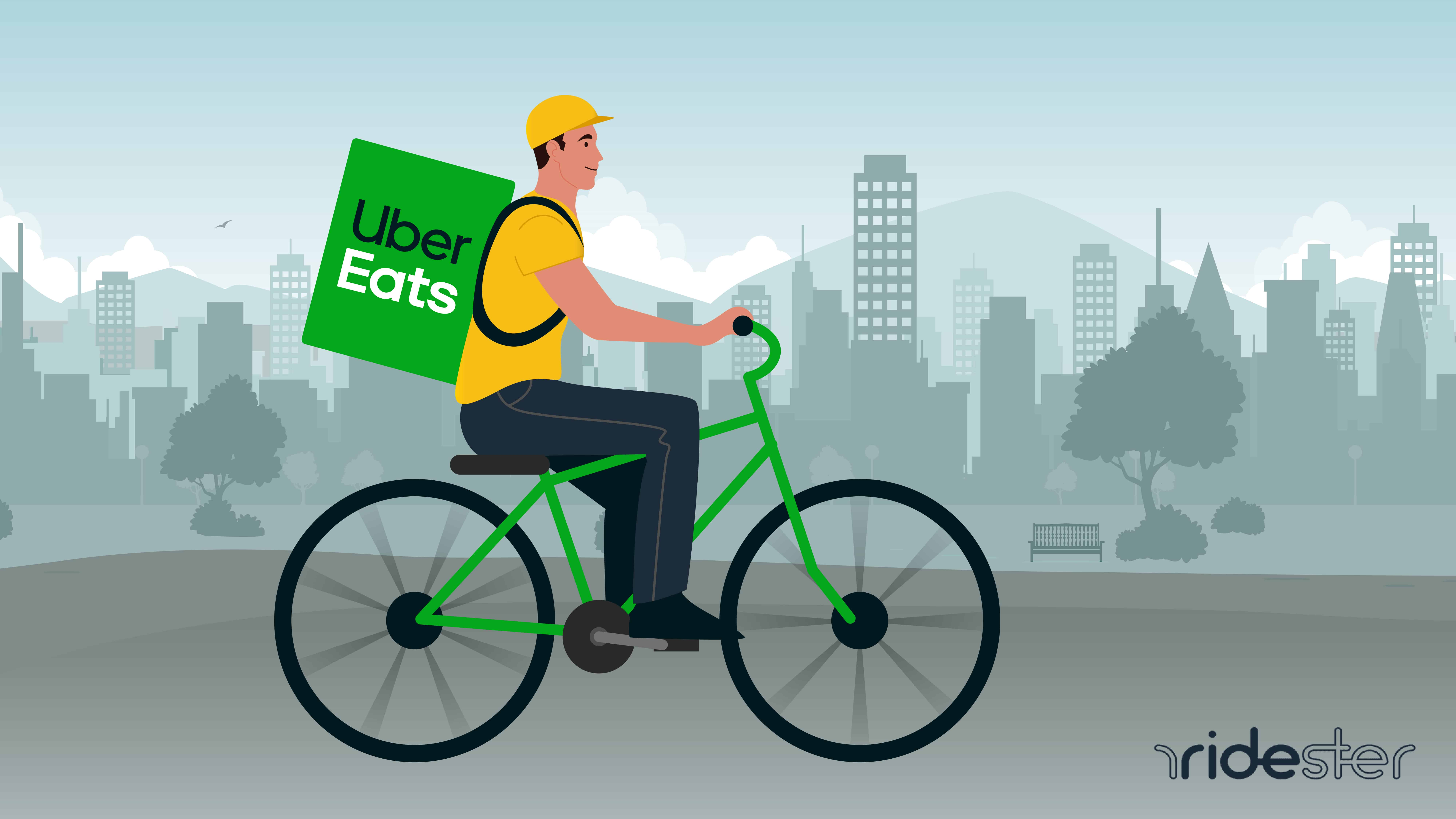 vector graphic of a man riding an uber eats bicycle