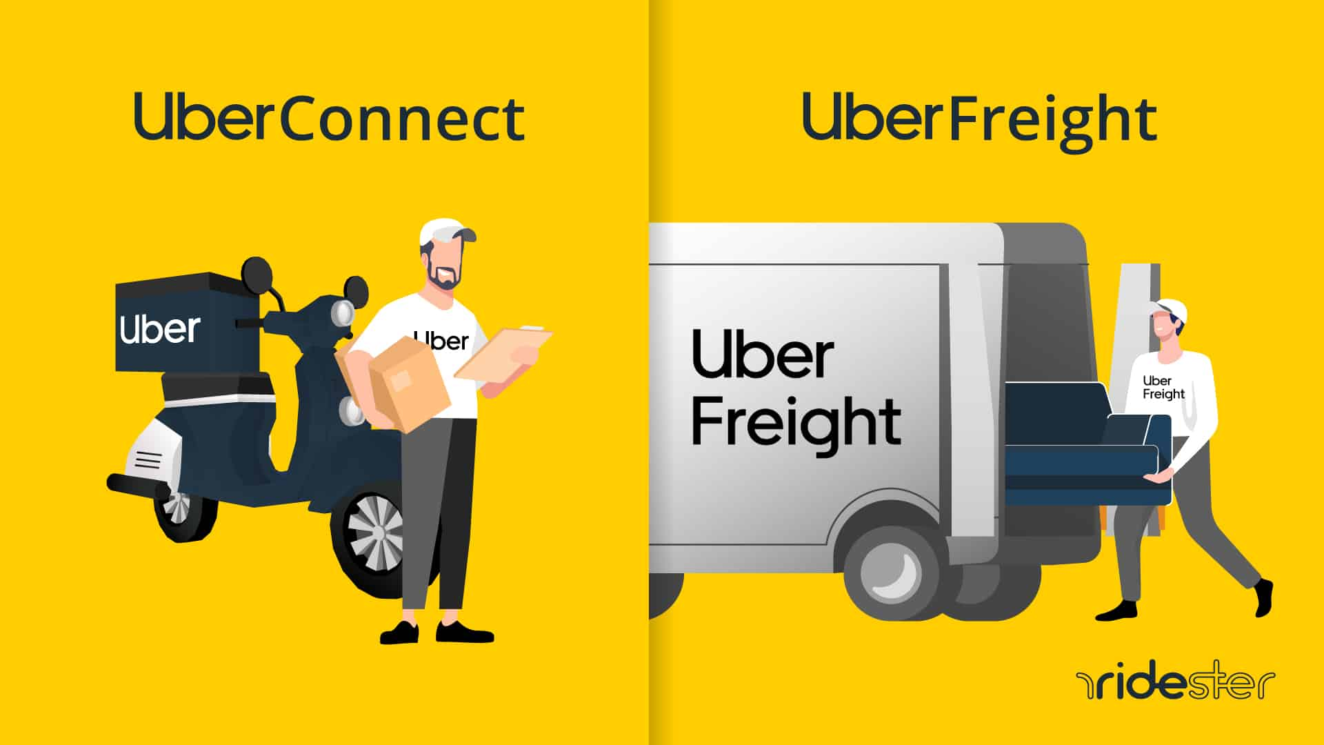 screen showing all the different uber logistics services available on the app