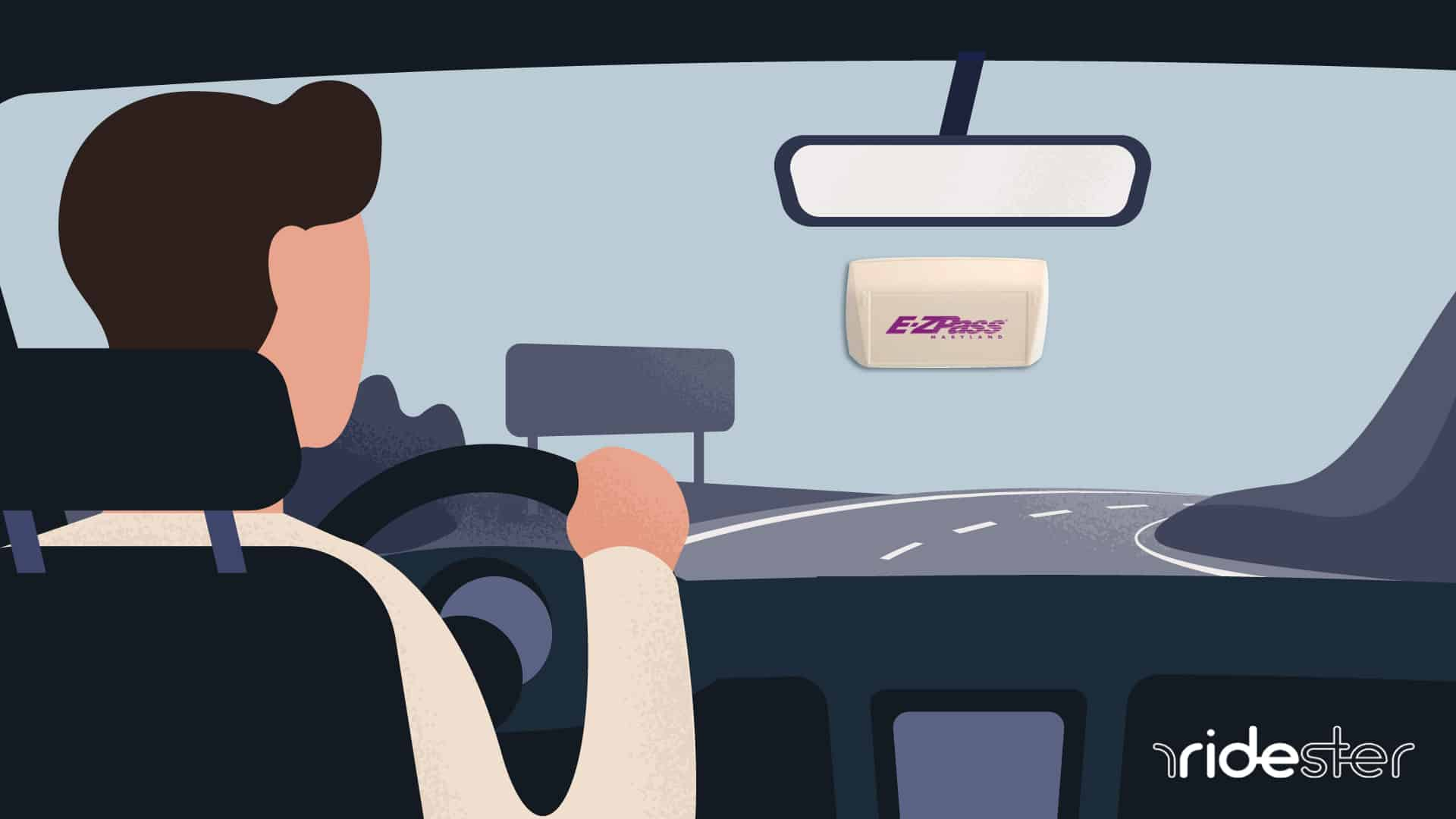 vector graphic showing ez pass on windshield of car driving down highway
