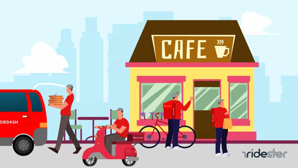 vector graphic showing multiple drivers driving for doordash