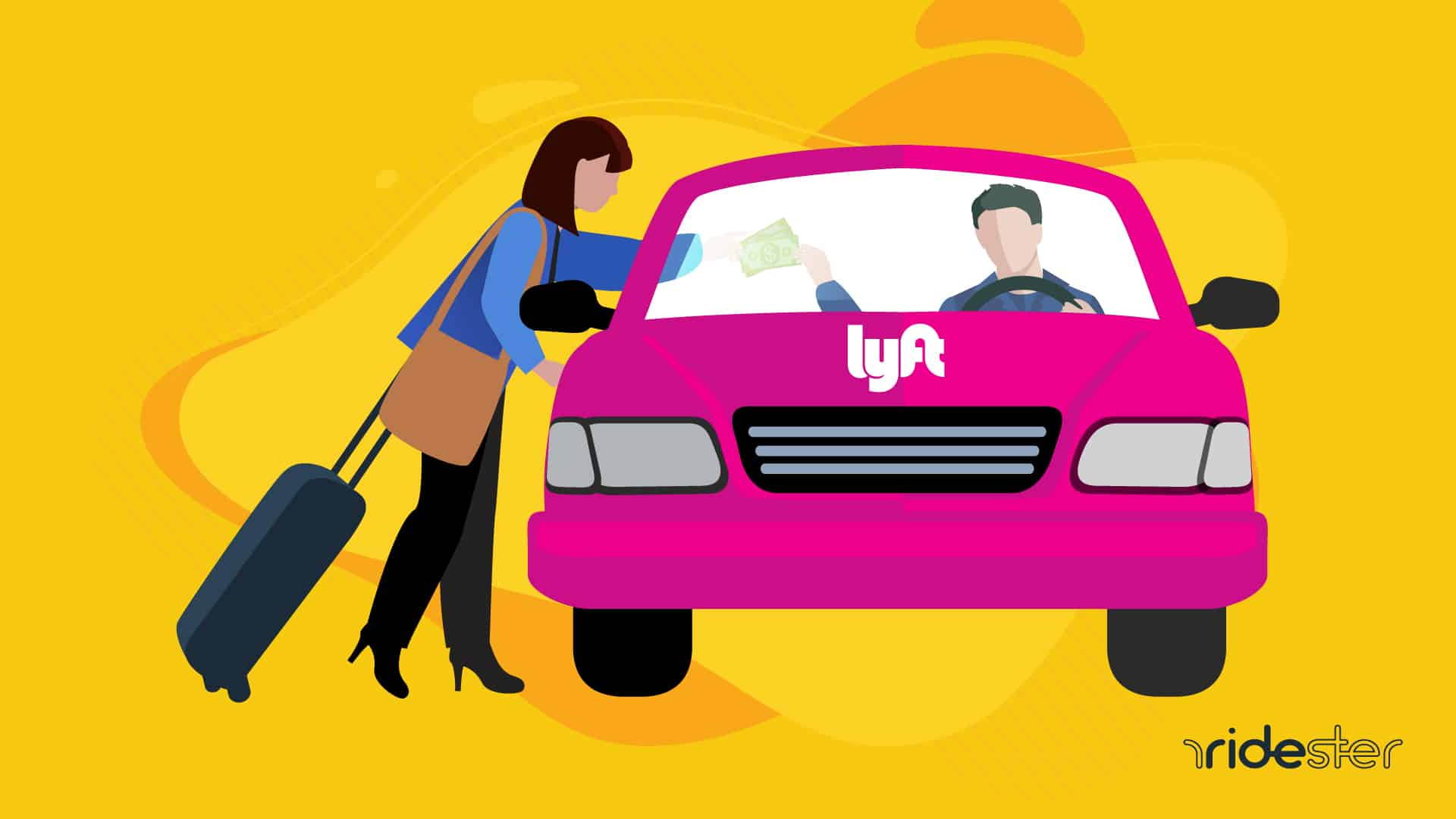 a vector graphic of a woman handing a lyft driver lyft tipping money through the window of the car after a ride