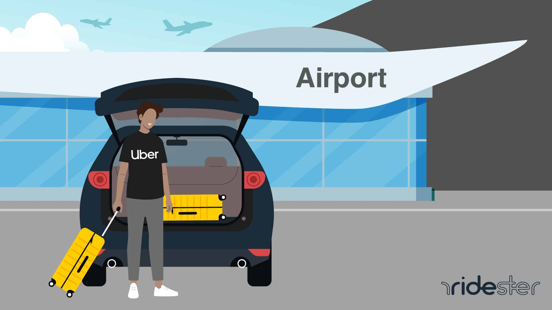 vector graphic showing rider loading uber luggage into vehicle