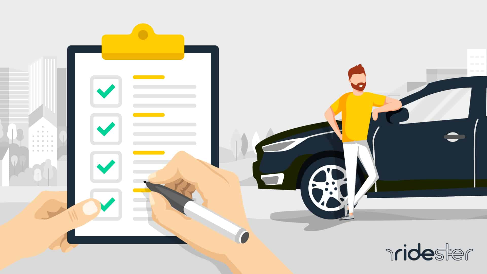 vector graphic showing a clipboard and a man trying to meet Uber driver requirements