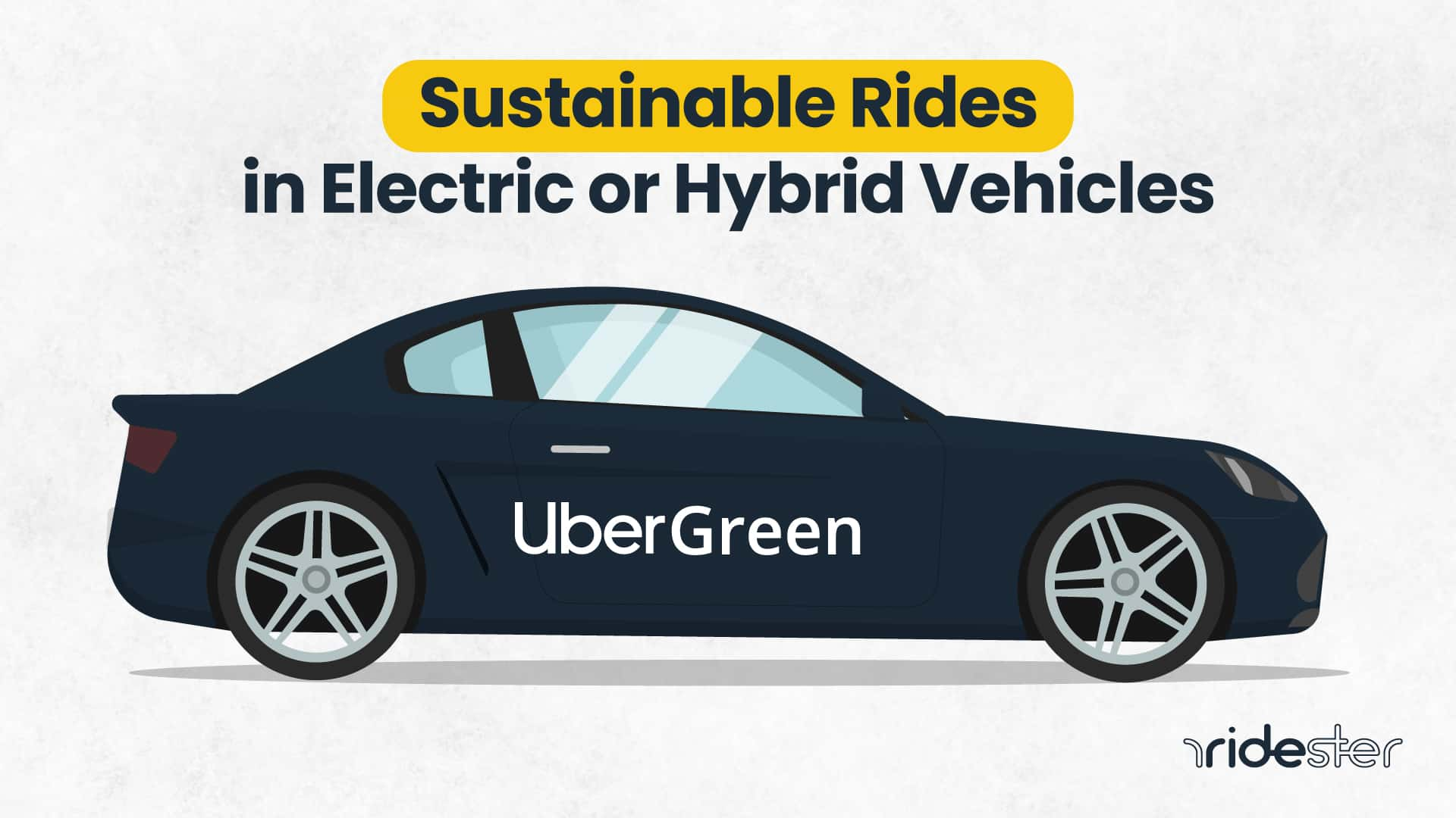 vector graphic showing an uber green car with a description text above it